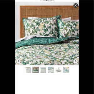 Opalhouse Twin Comforter Set Reversible Green Bird Parakeet One Sham Bedding New
